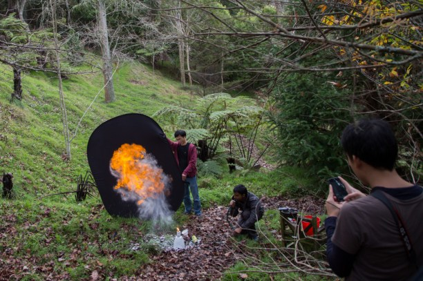 Creating the fire effects required for the levitation scene.