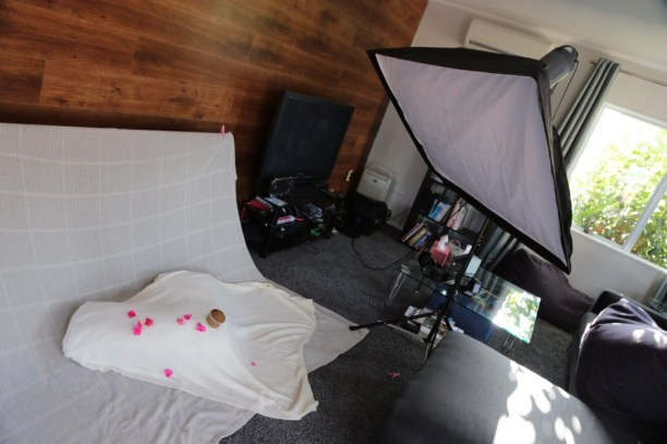 Lighting Setup for Baby and Cupcake - Visico strobe with 80x60cm soft box from diagonal above as key light