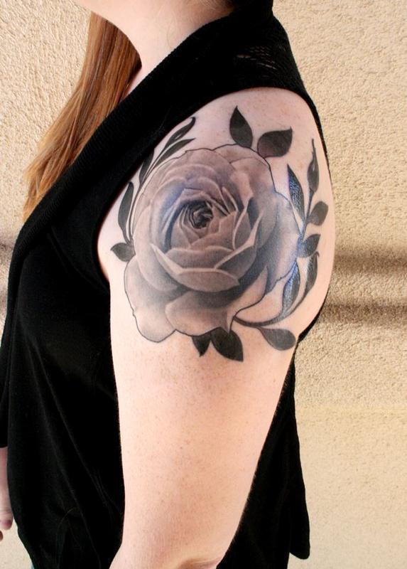 Realism Rose Tattoo Black And Grey