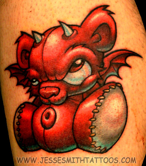 Devil Teddy Bear. Artist: Jesse Smith - (email) Placement: Leg