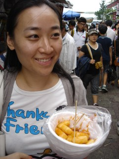 Spicy rice dumplings on the street.