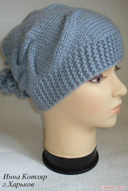 интересная модная вязаная женская шапка вязание спицами