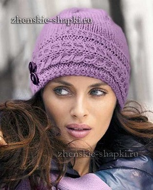 женская вязаная шапка спицами описание и фото модели