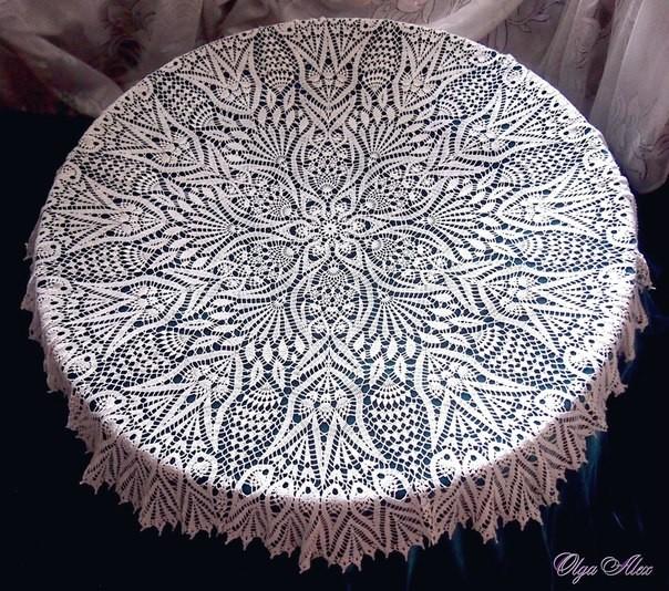 Скатерть на стол крючком схема фото 979