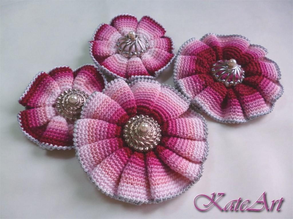 Вязаные цветы на шапку схема фото 330