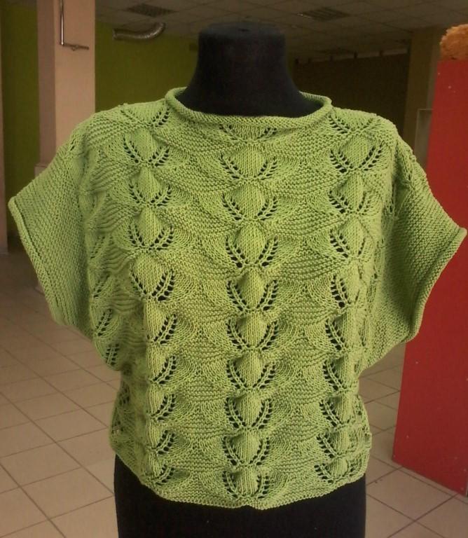 Летний пуловер с очень красивым узором (Вязание спицами)