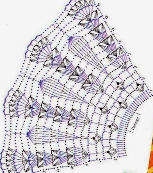 подборка схем с расширением для вязания юбок крючком узоры крючком