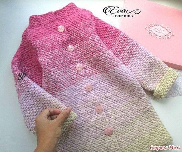 Пальто и кардиган для девочек. Градиент крючком (Вязание ...