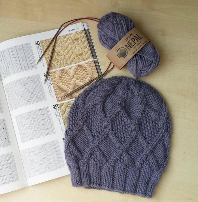 Стильная осенняя шапочка (Вязание спицами)