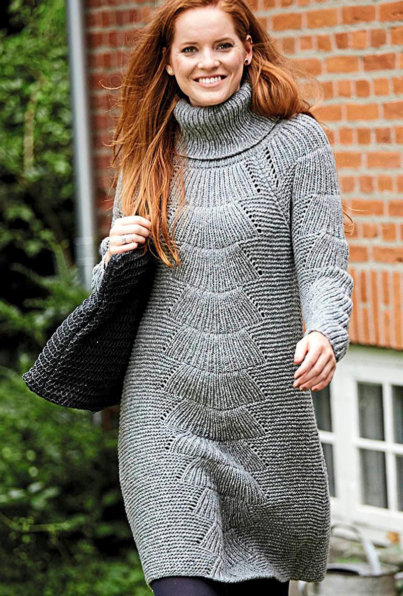 Платье-свитер с узором «Веер» (Вязание спицами)