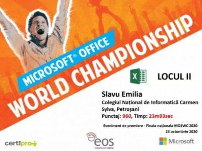 """Elevă a Colegiului Național """"Carmen Sylva"""" din  Petroșani, pe podiumul Campionatului Mondial Microsoft"""