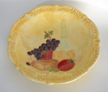 Large Gold Hand-Painted Pasta Bowl