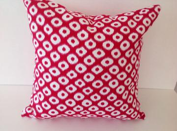 Decorative Pillow cover,designers pillow,Ikat Fuschia ,cotton 16x16