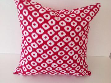 Decorative Pillow cover,designers pillow,Ikat Fuschia ,cotton 16x16