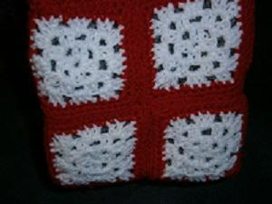 Crochet Granny Boho Bag Red and White
