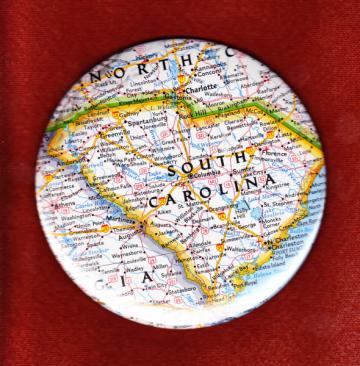 South Carolina Map Button - OOAK by PortableGraffiti