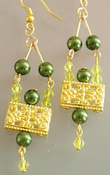 Handmade gold toned green glass pearl earrings