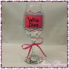 Hand Painted Diva Wine Glasses