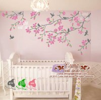 Cherry blossom wall decals nursery white | Cuma wall decals