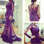 Purple Long Sleeve Evening Dress