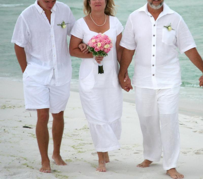 Beachwear White linen casual mid length wedding by