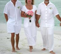 Beachwear White linen casual mid length wedding by