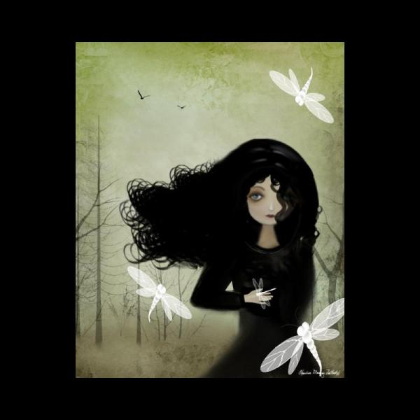 Whimsical Goth Girl And Dragonflies Art Print Rusticgoth