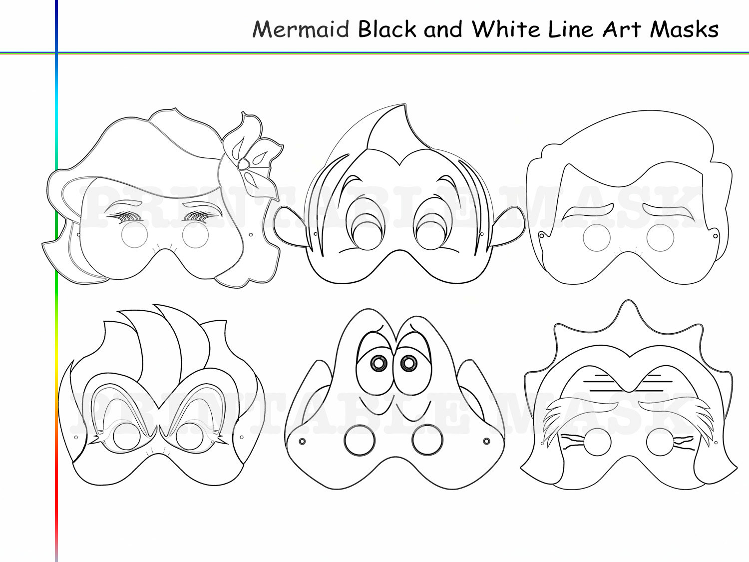 Coloring Pages Mermaid Party Printable