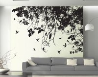 Tree Branch with Birds Silhouette Right Corner | Art4home