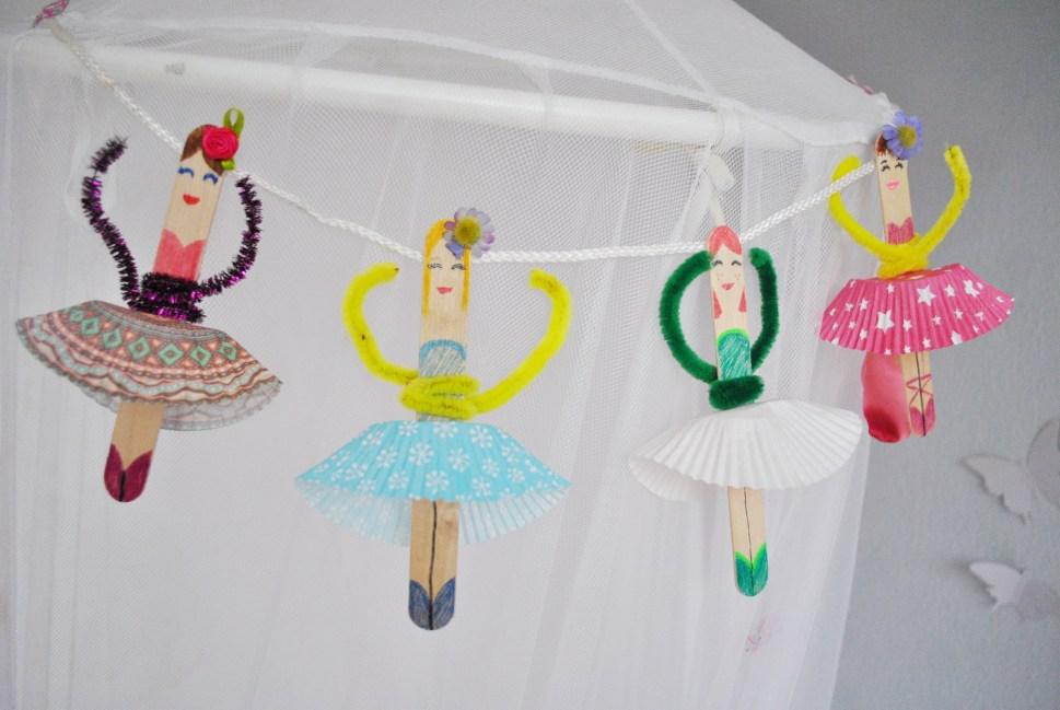 Basteln Mit Eisstielen Eine Ballerina Girlande Furs Kinderzimmer