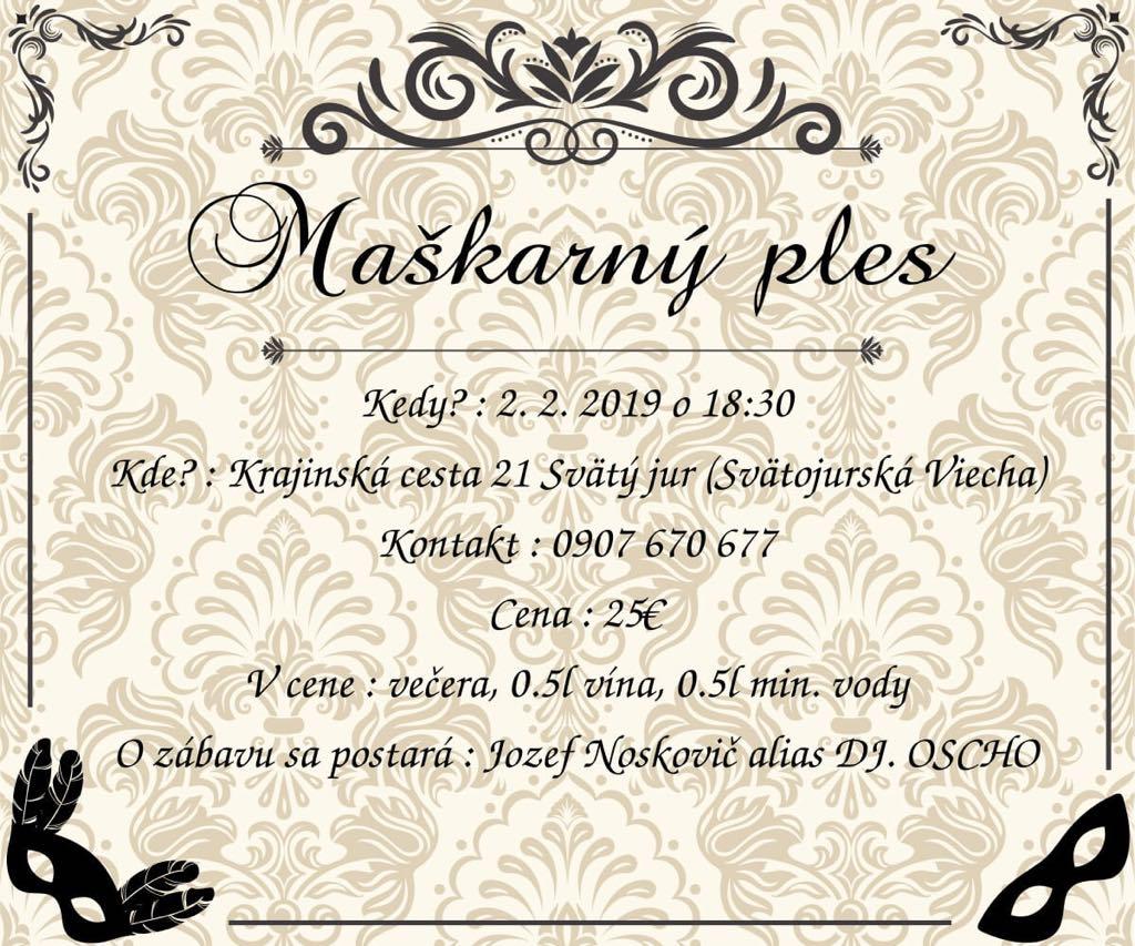 Pozvánka na maškarný ples