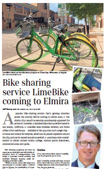LimeBike Jim - City Of Elmira Is Latest Community To Welcome LimeBikes, Says NY and PA Bicycle Law Lawyer