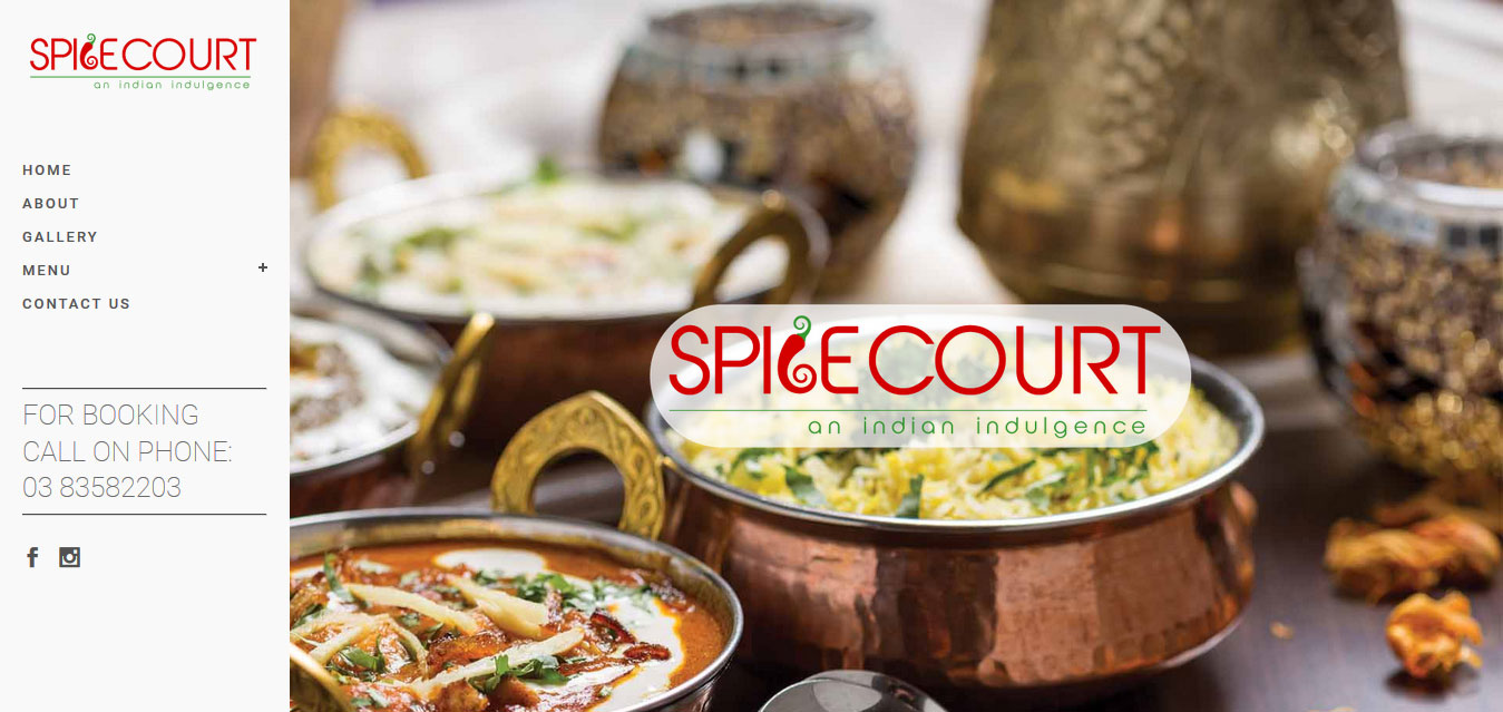 spice court restaurant website by zigsee