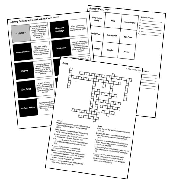 Literary Terminology Activities for AS and A Level English