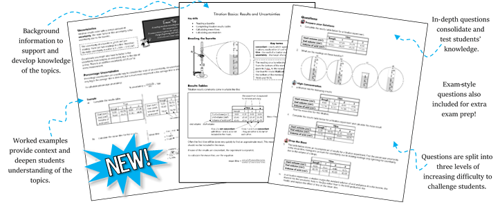 'Tricky Topics' Worksheets for A Level AQA Chemistry