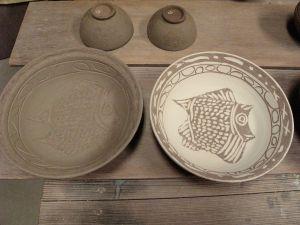 象嵌魚紋鉢と飯椀