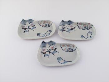 風花の猫長皿