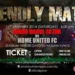 Perlawanan persabahatan jdt vs home united fc 11 jan2014