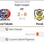 Liga super- Jdt menang 2-0 keatas perak fa 18 januari 2014