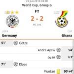 Keputusan germany vs ghana 22 june 2014