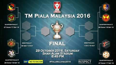 jadual suku akhir piala malaysia 2016,