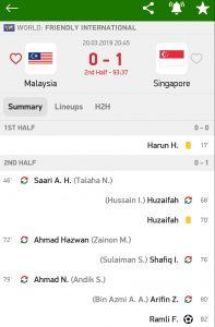 Keputusan Malaysia vs singpura