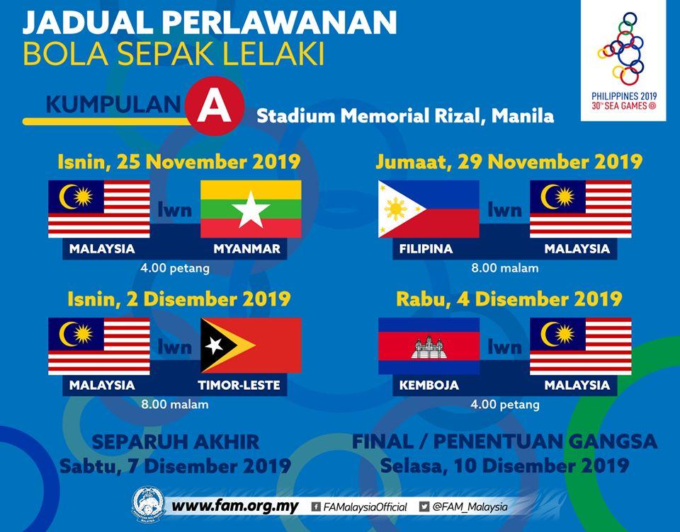 jadual sukan sea bola sepak 2019, jadual bola sepak sukan sea Philippines 2019