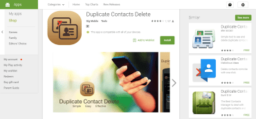 List of Free Duplicate contacts remover Apps