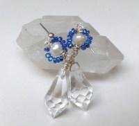 pearl crystal earrings, clear teardrop glass crystal and pearl