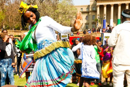 CELEBRATIONS: Tintswalo Maluleke, honours psychology, shakes her xibelani skirt after winning the Wits Heritage Day dancing competition.