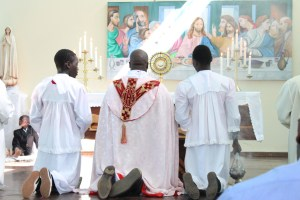 priest and alter servers kneeling during a church service