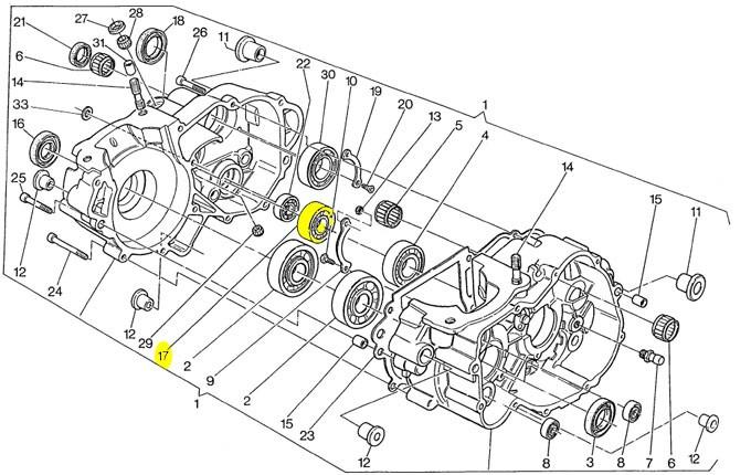 Rolamento eixo primario lado dir Husqvarna WR 250-360 1994