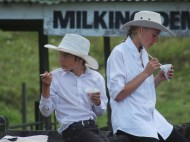 After the judging. Kids enjoying shave ice at Helensville A&P Show, NZ. Image: Su Leslie, 2017.