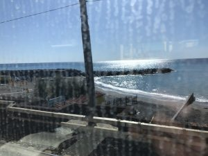 Our first glimpse of the Med from the train
